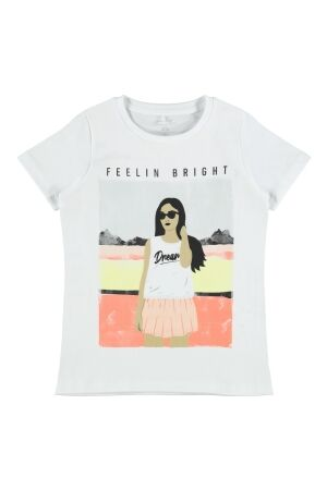Name It Meisjes shirt km ronde hals kort Name It 13189218 bright white